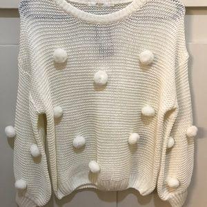 Nasty Gal Sweaters - Nasty Gal White Pompom Knit Sweater NEW w Tags o/s